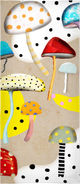 Retro Mushrooms Black Polka dots earth washed colour Background
