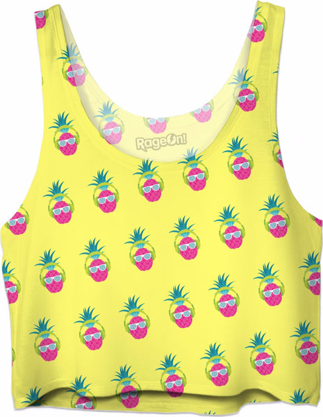Party Pineapple Pattern Crop Top