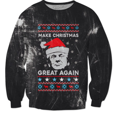 Donald Trump Christmas Sweater - Make Christmas Great Again (Grunge)