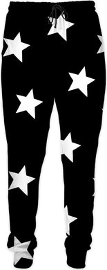 Big White Stars Black Joggers
