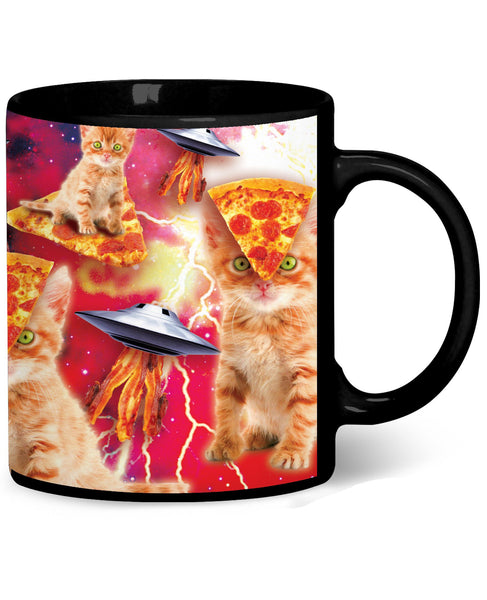 Bacon Pizza Space Cat Coffee Mug