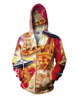 Bacon Pizza Space Cat Zip-Up Hoodie