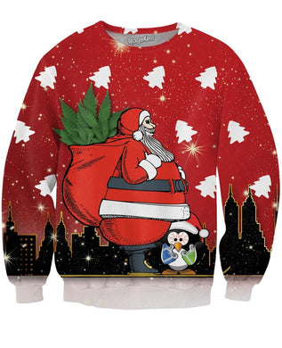 Santa Bringing the Trees Crewneck Sweatshirt