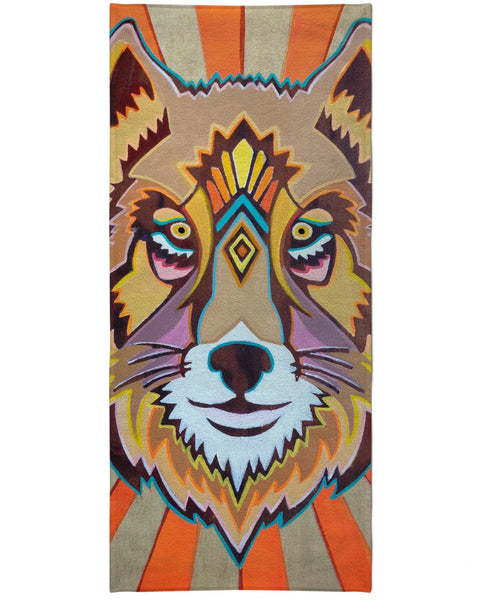 Golden Wolf Beach Towel