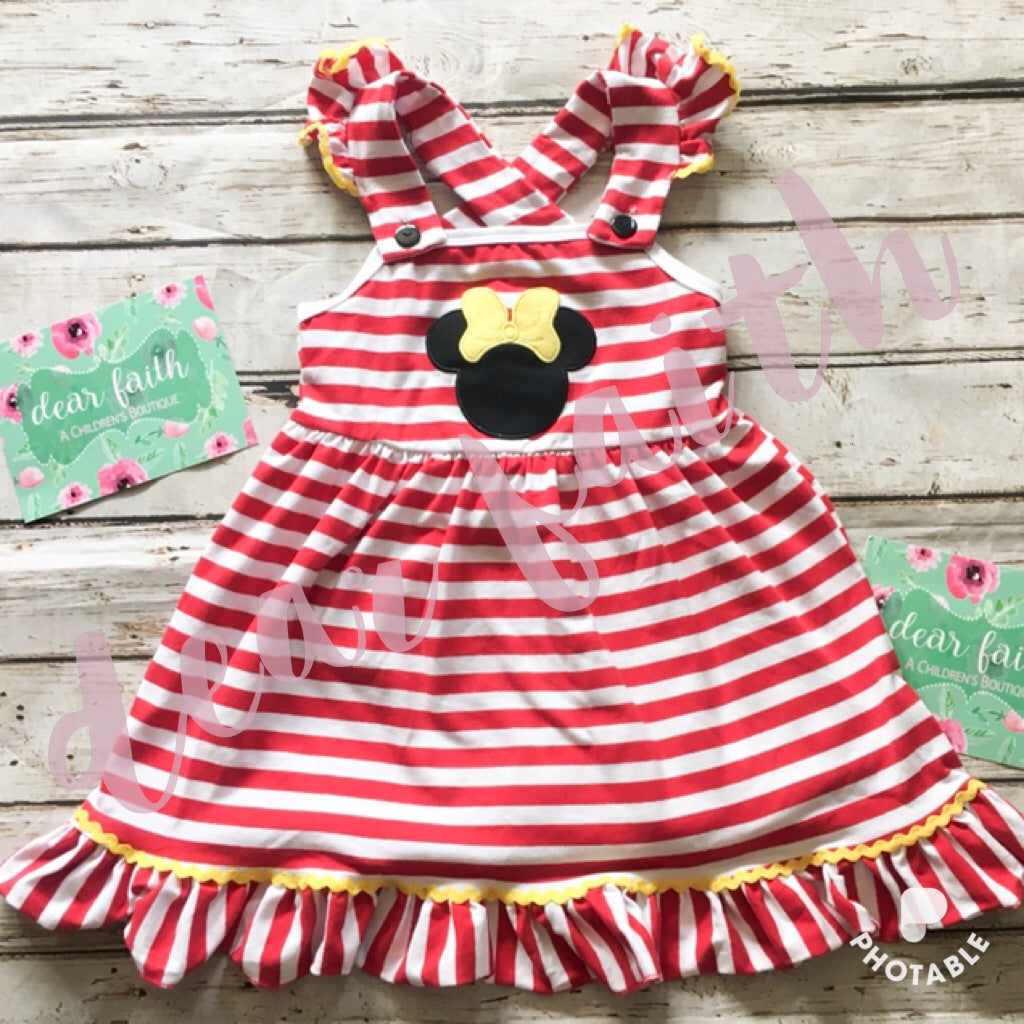 Applique Red and White Dress