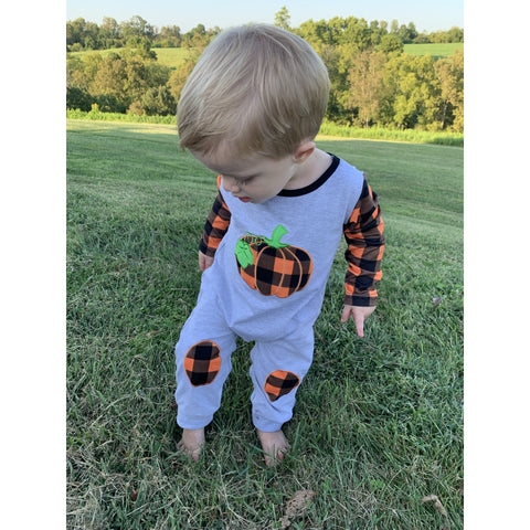 Buffalo Plaid Pumpkin Romper