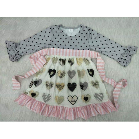 Gray and Pink Heart Dress (PREORDER)