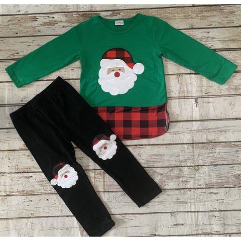 Green Plaid Santa Set