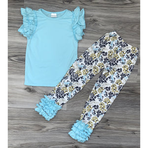 Sky Blue Ruffle Set Set