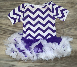 Purple Chevron 3/6m Tutu Romper