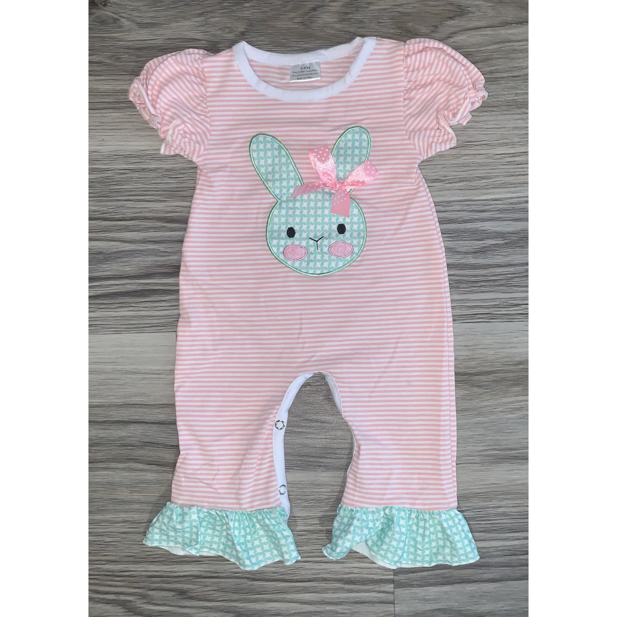 Pink Striped Bunny Romper