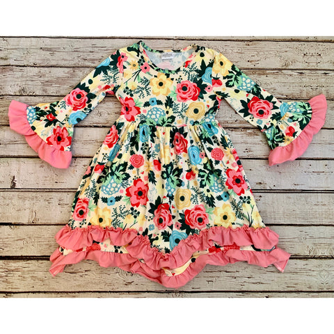 Floral Bella Sleeve Ruffle Dress