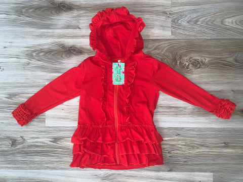 Ruffle Jacket in Red