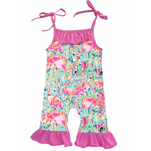Shoulder Tie Romper - Flamingo Print