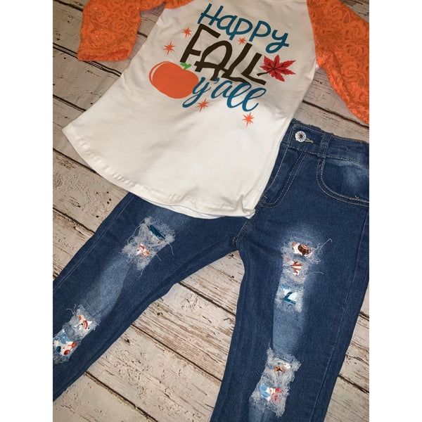 Fall Raglan and Distressed Denim Set