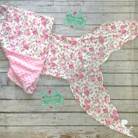 Minky Dot Mermaid Tail Blanket (Floral)