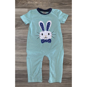 Turquoise Striped Bunny Romper