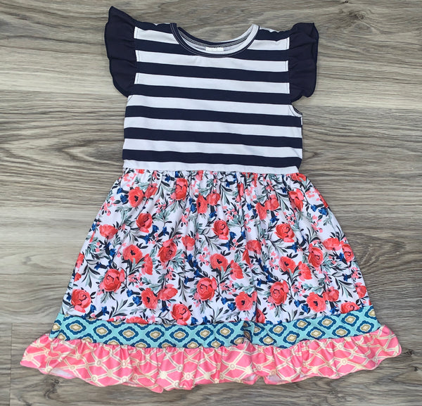 Striped Navy and Floral Dress