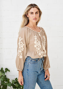 Hand Embroidered Long Sleeve Blouse - Almond/Cream