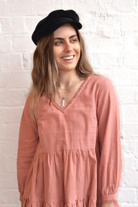 Folkstore - Mojave Tiered Linen Dress - Rose - Folkstore Fitzroy