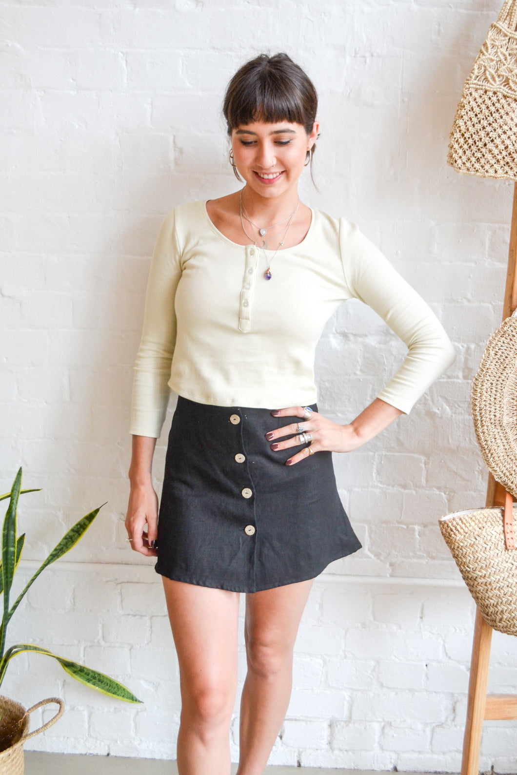 Folkstore - Aya Linen Button Down Mini Skirt - Charcoal - Folkstore Fitzroy