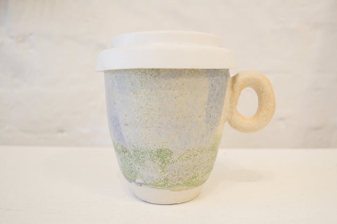 Clay By Tina - Large Travel Mug With Handle - Pastel Blue  Wash - Folkstore Fitzroy