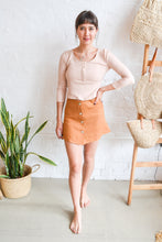 Folkstore - Aya Linen Button Down Mini Skirt - Terracotta - Folkstore Fitzroy