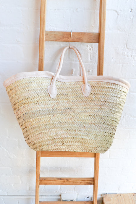 Moroccan Shopping Basket with Cream Leather Trim - Folkstore Fitzroy