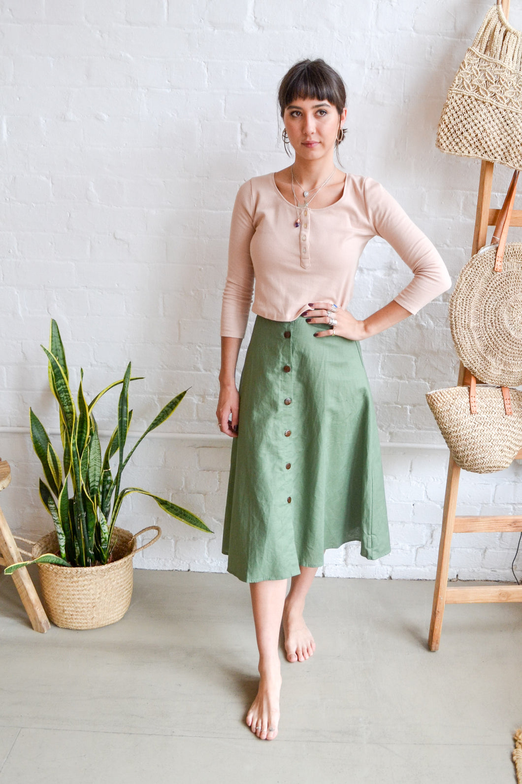 Folkstore - Uma Button Down Midi Skirt - Forest Green - Folkstore Fitzroy
