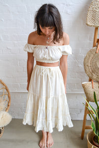 Folkstore - Daisy Bell Tiered Midi Skirt - Cream - Folkstore Fitzroy