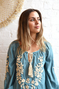 Hand Embroidered Long Sleeve Blouse - Bluebell/Cream - Folkstore Fitzroy