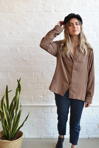 Folkstore - Crinkle Cotton Shirt - Cocoa - Folkstore Fitzroy