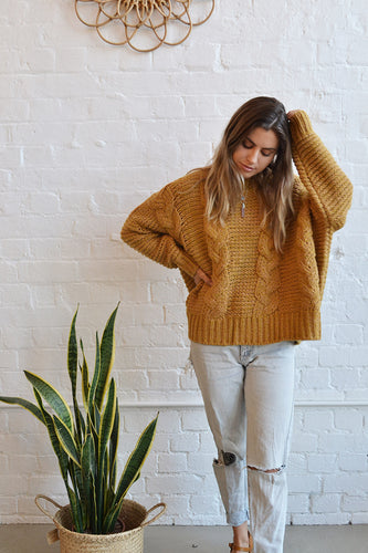 Sophie Mohair Blend Cable Knit Jumper - Mustard - Folkstore Fitzroy