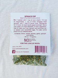 Spinach Dip Mix by Northwest Spice Contains, onion, chives, parsley, garlic, spinach and spices