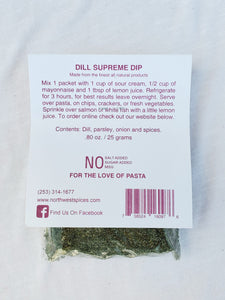 Dill Supreme Seasoning Blend - Northwest Salmon Rub Contains, Dill, parsley, onion and spices
