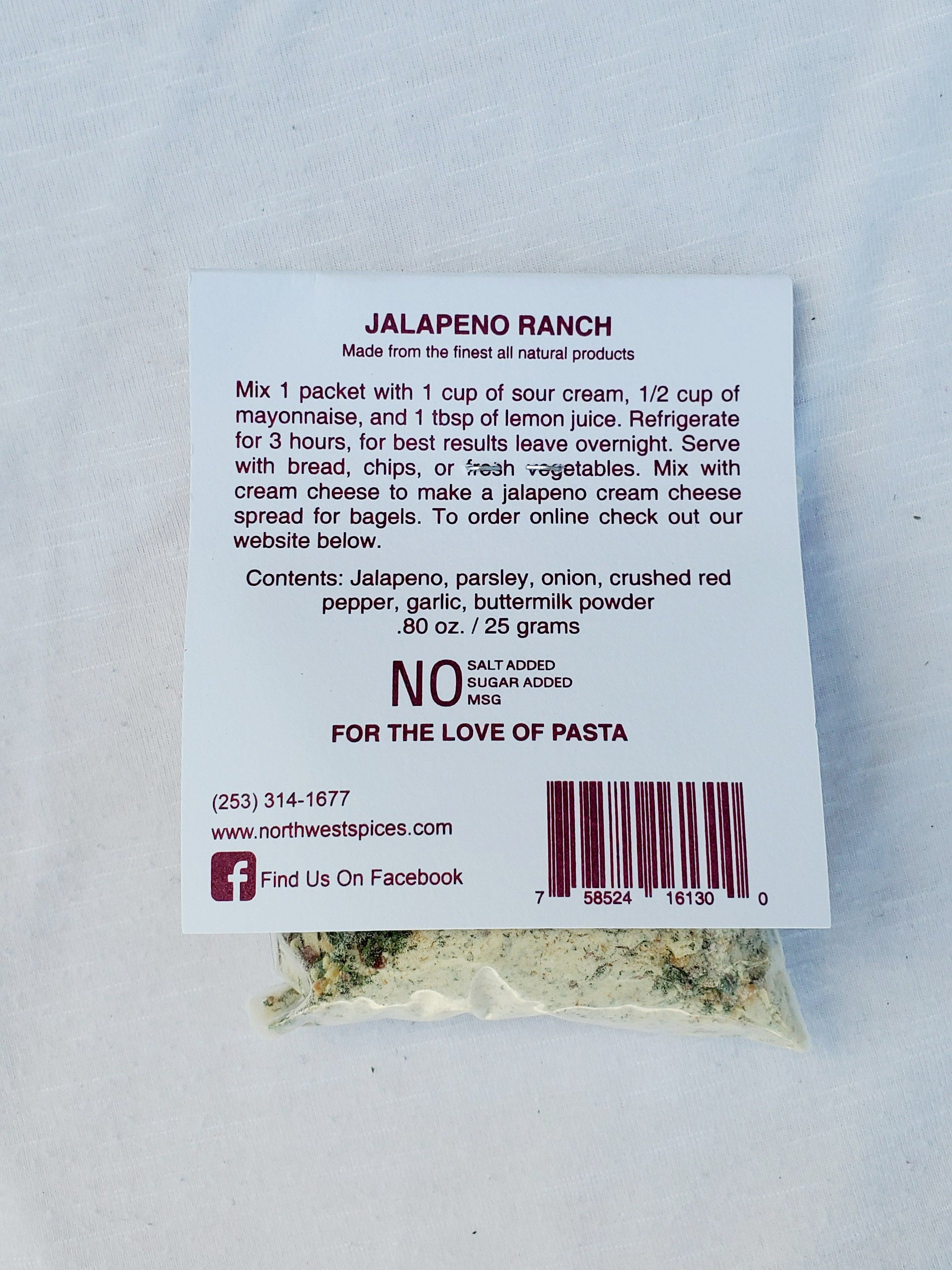 Jalapeno Ranch Spice Mix by Northwest Spices, Contains, Jalapeno, parsley, onion, crushed red pepper, garlic, buttermilk powder