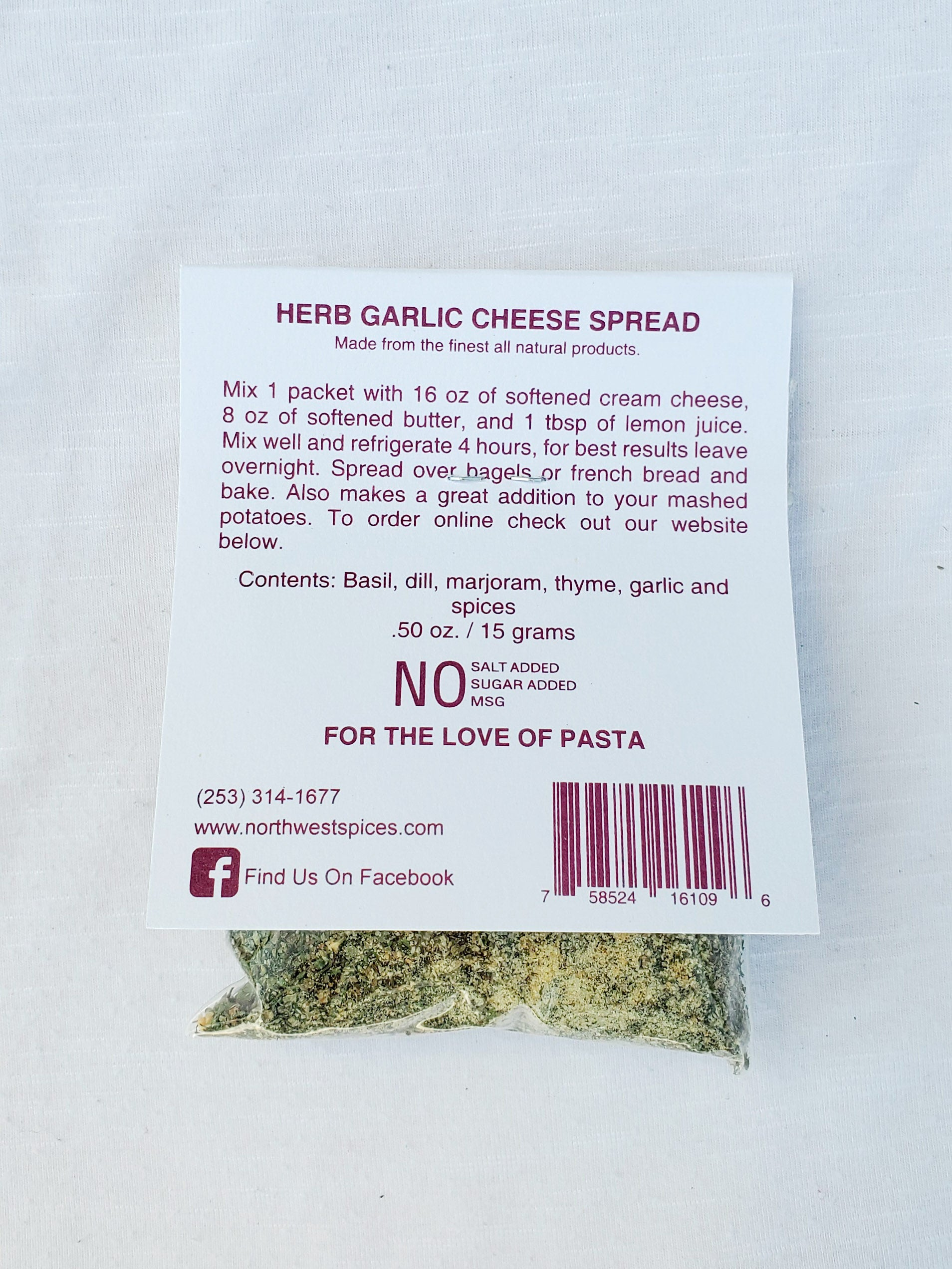 Herb Garlic Cheese Seasoning Blend by Northwest Spices contains, Basil , Dill, Marjoram, Thyme, Garlic and spices.