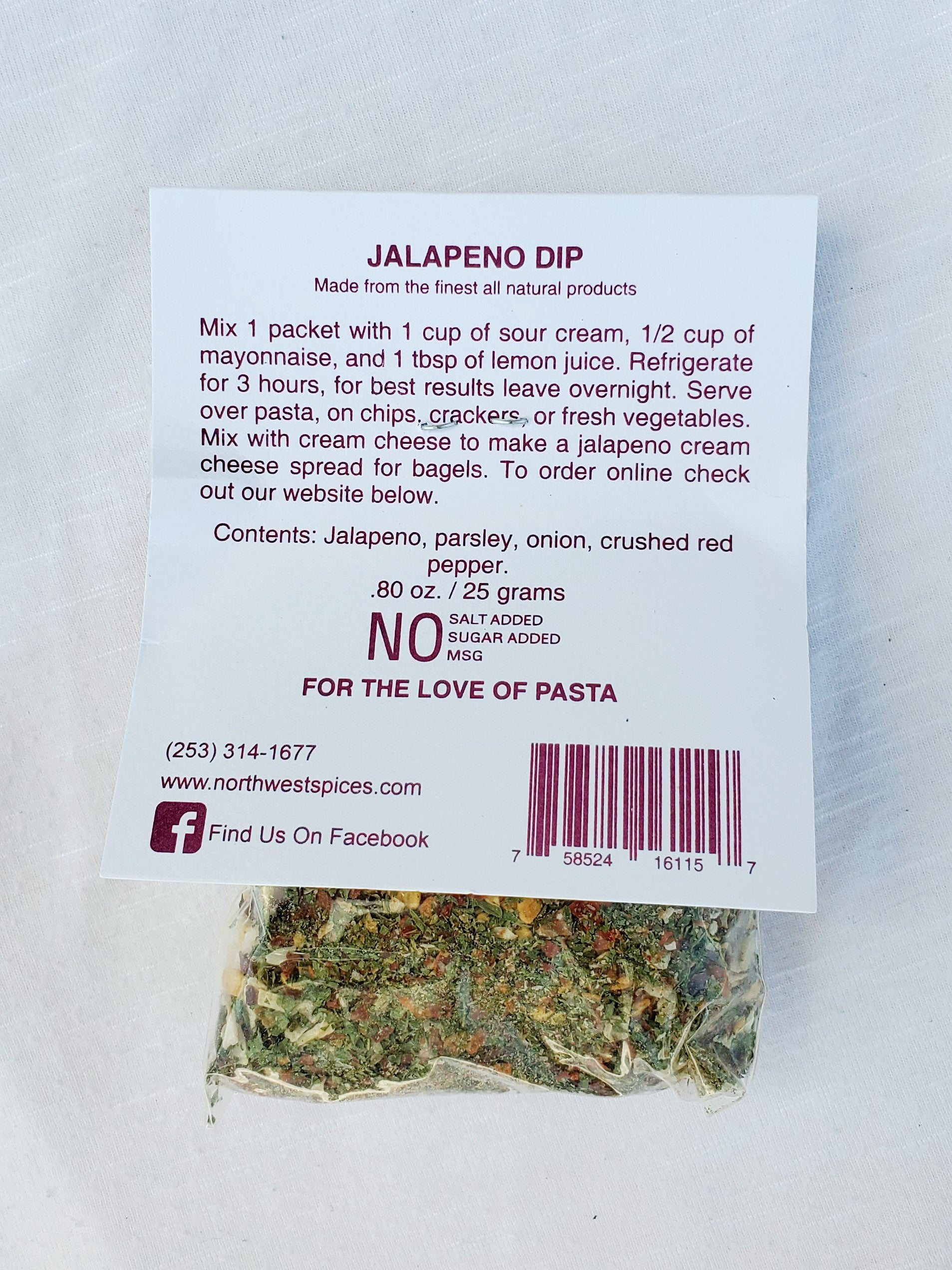 Jalapeno Dip and Seasoning Mix by Northwest Spices Contains, Jalapeno, parsley, onion, crushed red pepper
