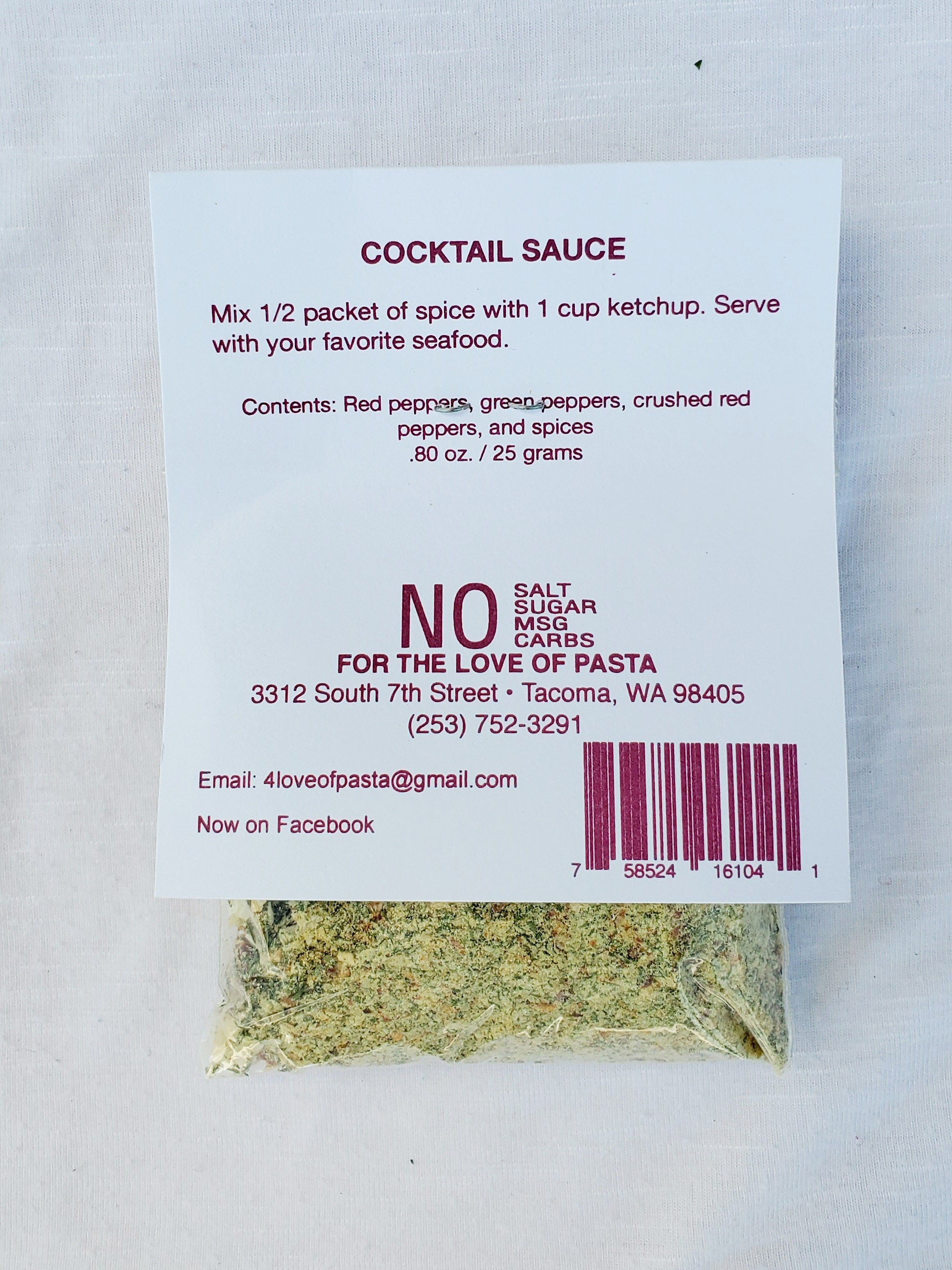 Cocktail Sauce Spice Blend Contains: Red peppers, green peppers, crushed red peppers, and spices. 25grams