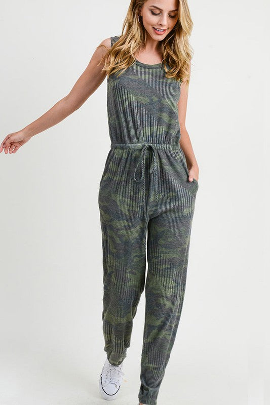 Ribbed Camo Jumpsuit