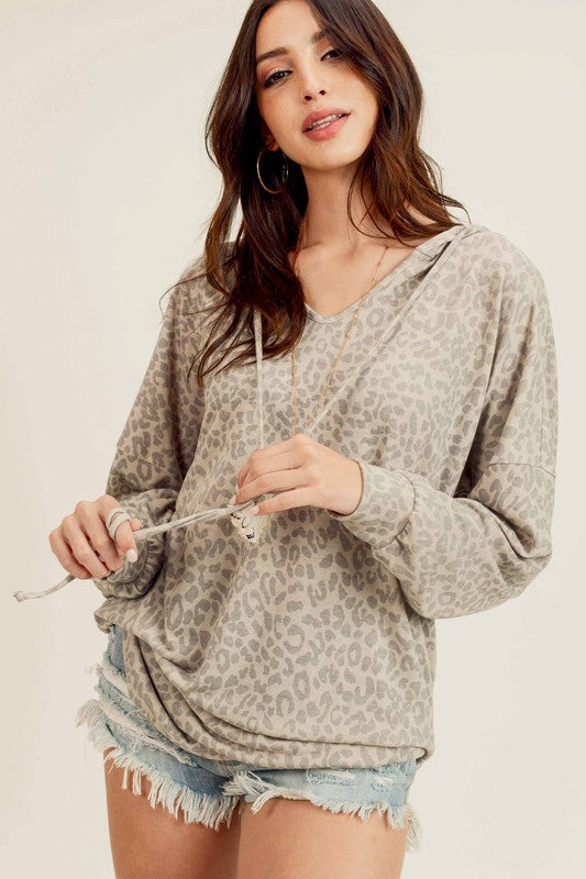 Hooded Leopard V-Neck Top