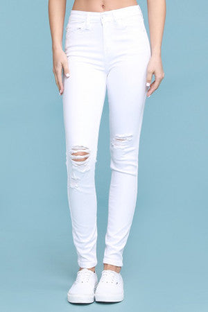 Whitney White Distressed Skinny Jeans