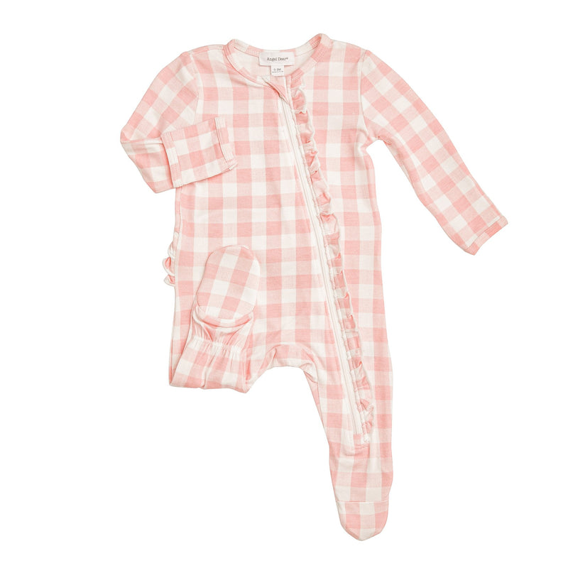 Gingham Zipper Footie-Pink