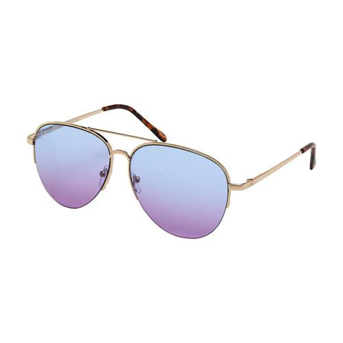 Blue Gem Sunglasses-Ocean Lens Metal Rim Aviator