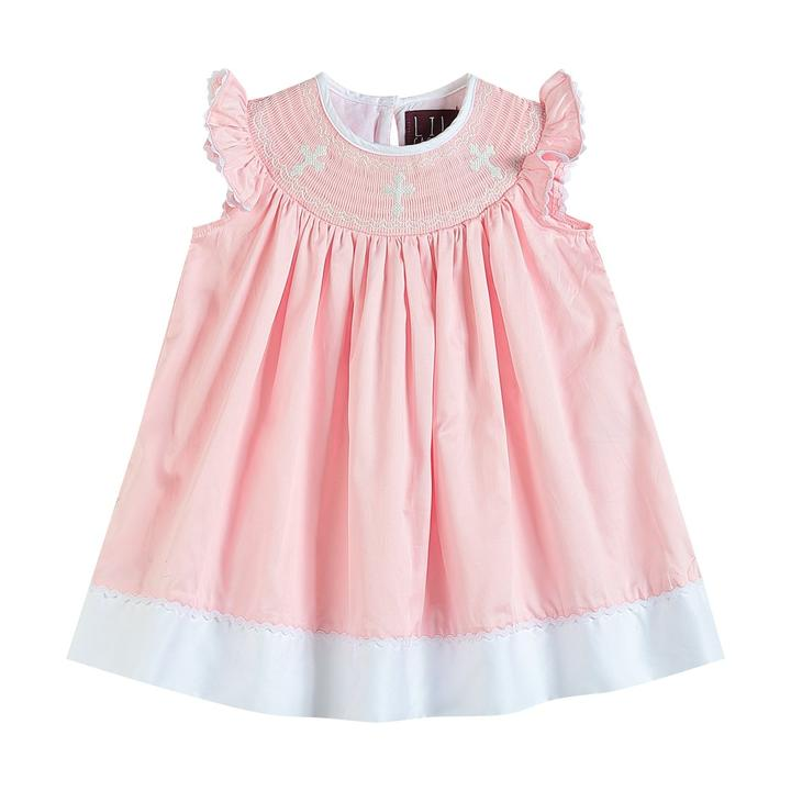 Crosses Smocked Bishop Dress