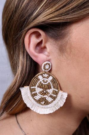 Timley Oval Beaded Fringe Earrings
