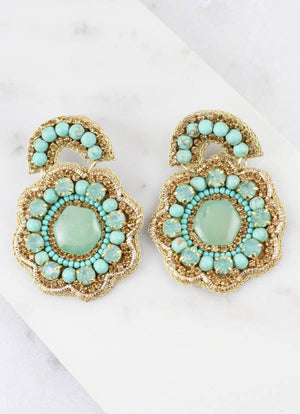 Turqouise Embellished Flower Earrings