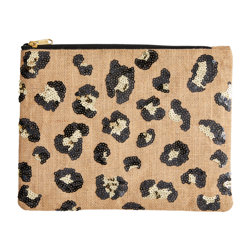 Sequin Leopard Jute Zipper Bag
