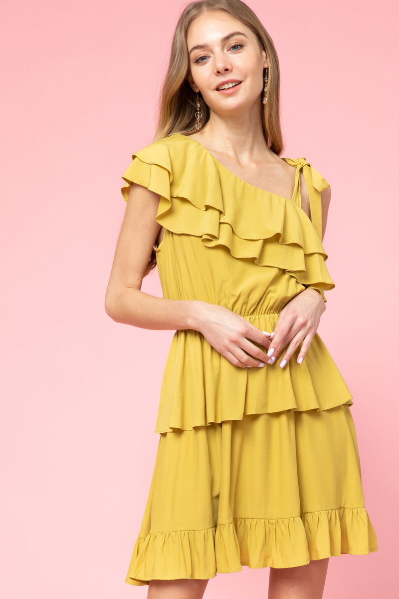 Ruffle Tiered Dress with Tie Sleeve- Mustard
