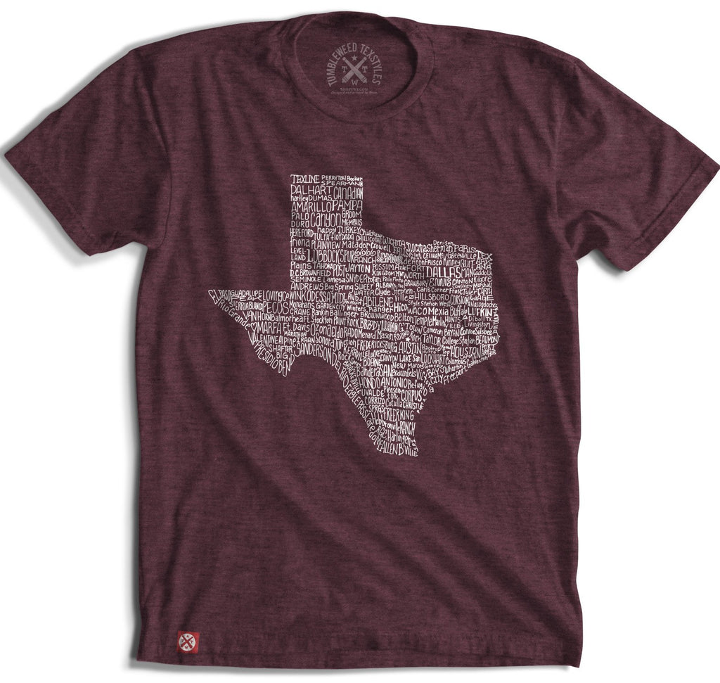 Texas Towns T-Shirt- Maroon